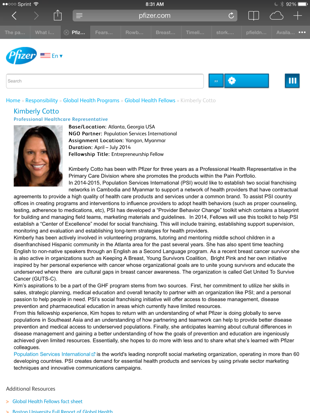 Pfizer Global Health Fellow Announcement